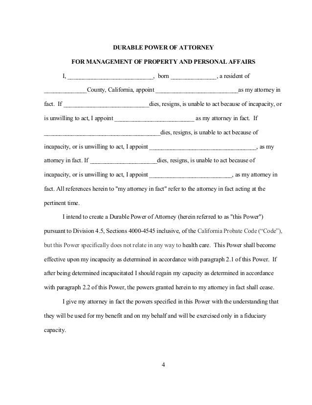 Sample Durable Power Of Attorney Form Limited Power Of Attorney