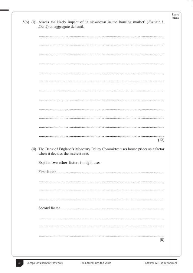 Sample economics papers with mark scheme