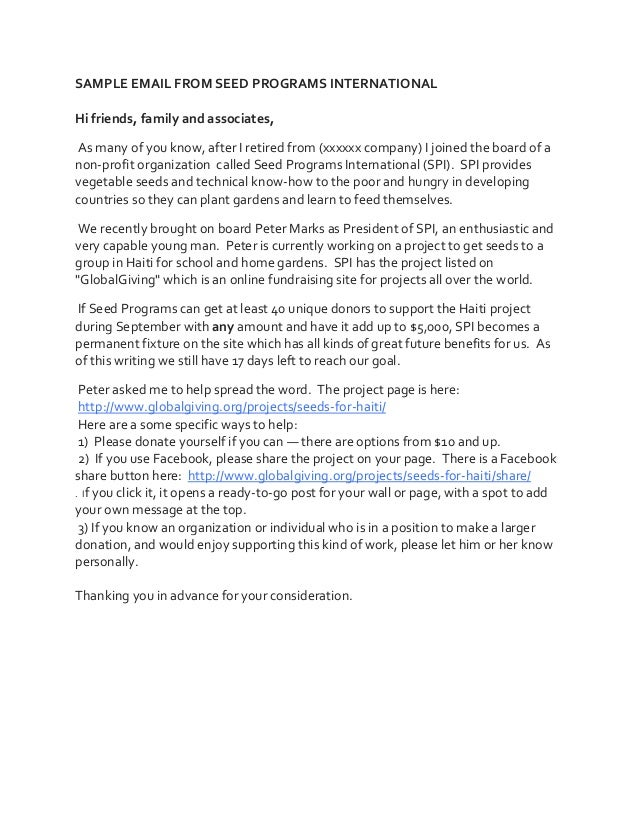 SAMPLE EMAIL FROM SEED PROGRAMS INTERNATIONAL Hi friends, family and associates, As many of you know, after I retired from...