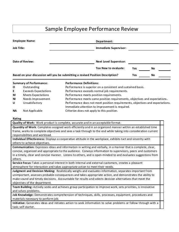 Sample Employee Performance ReviewEmployee Name:                                                 Department:Job Title:    ...