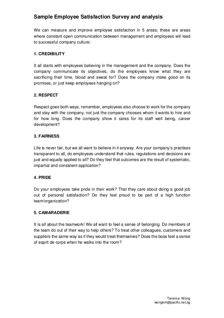 Sample Employee Satisfaction Measurement Tool