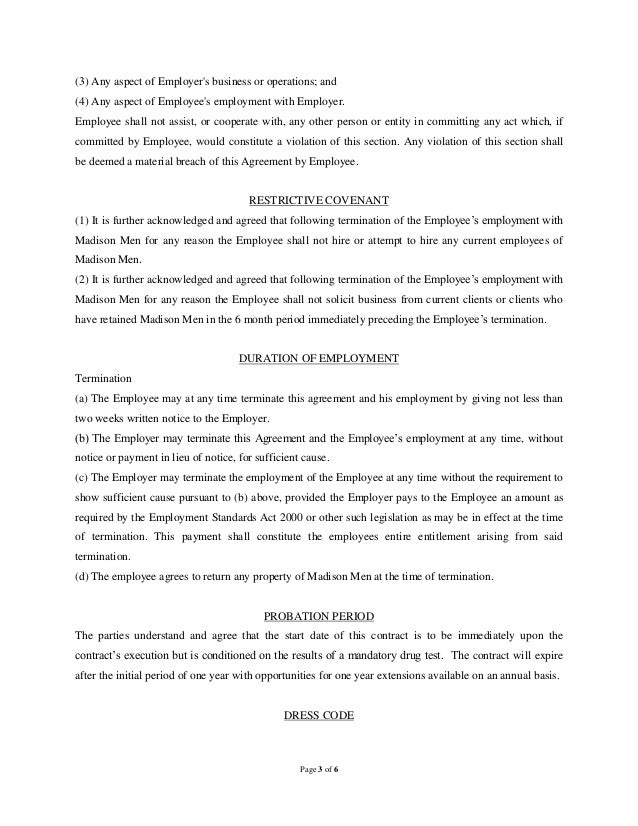 Sample Employment Example Employee Agreement Template Free Download