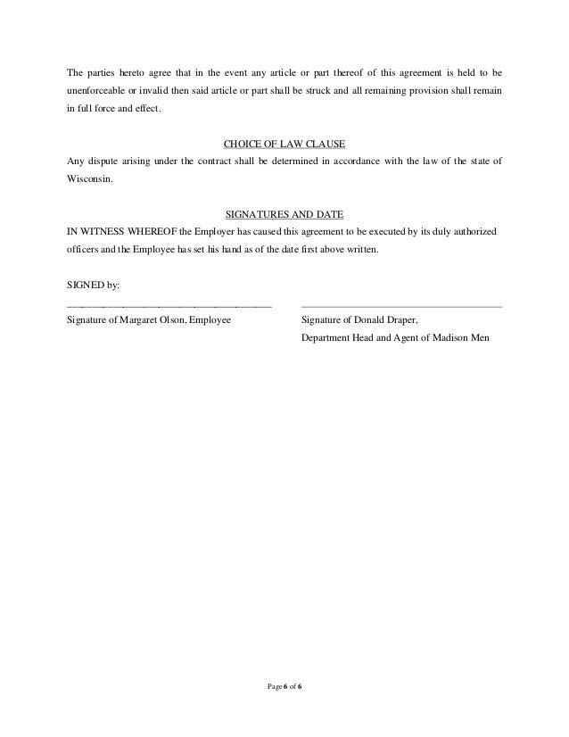 simple employment agreement sample
