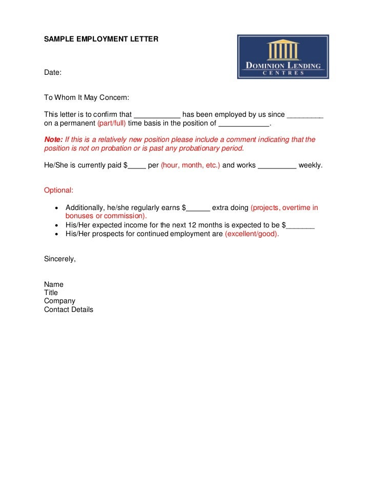 Sample Employment Letter – Job Letter Template