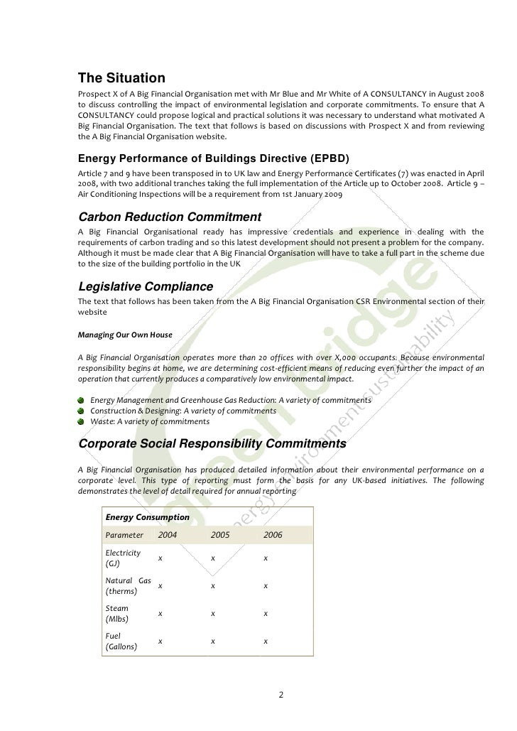 Sample Energy Saving Proposal
