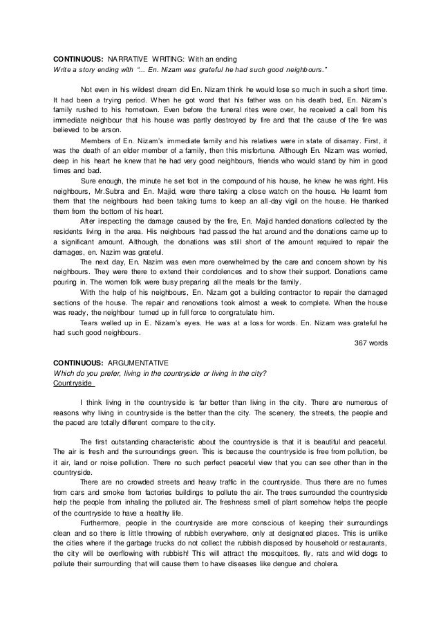 Model essay english spm report