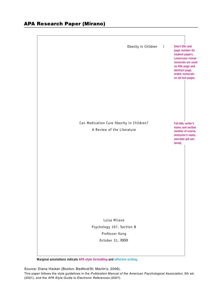 apa title page for college paper