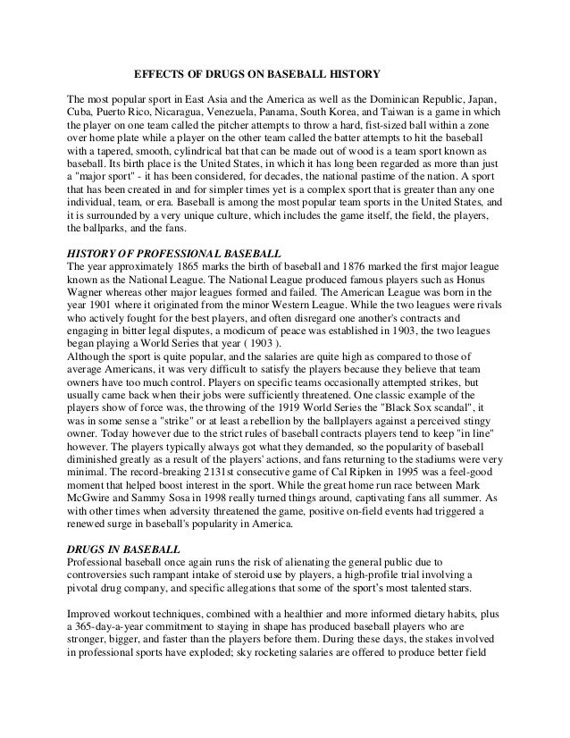 Sample history essays effects of drugs on baseball history sample