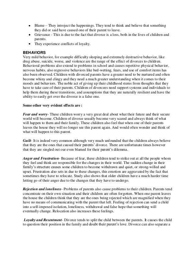 divorce effect children essay   essay the effects of divorce on  divorce effect children essay