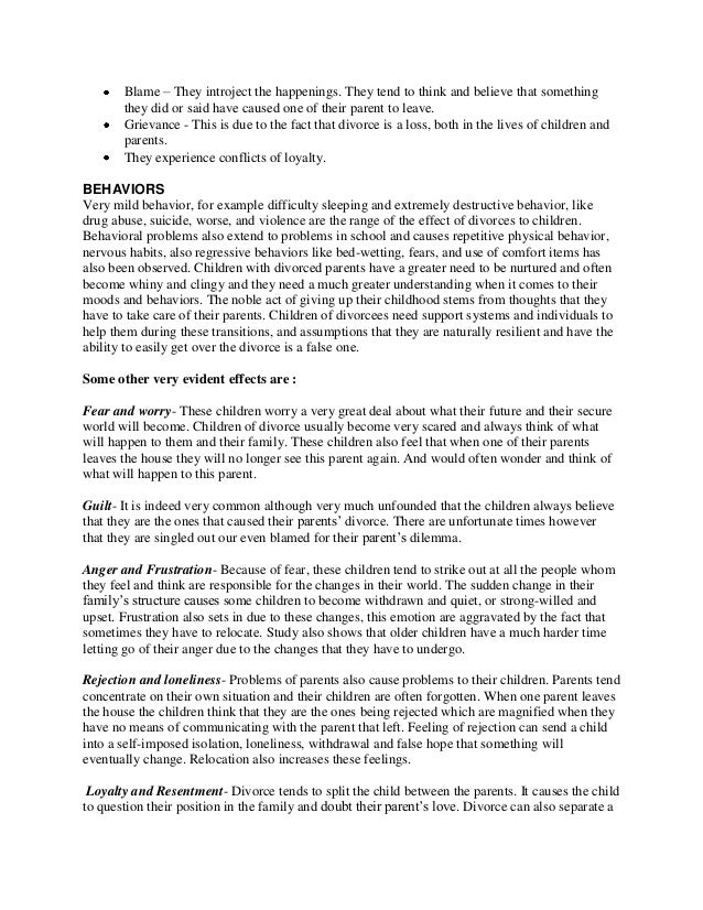 divorce conclusions essays Writing a cause and effect essay on divorce requires some important decisions and presentations structures here are suggestions for topics and structure of such an essay.