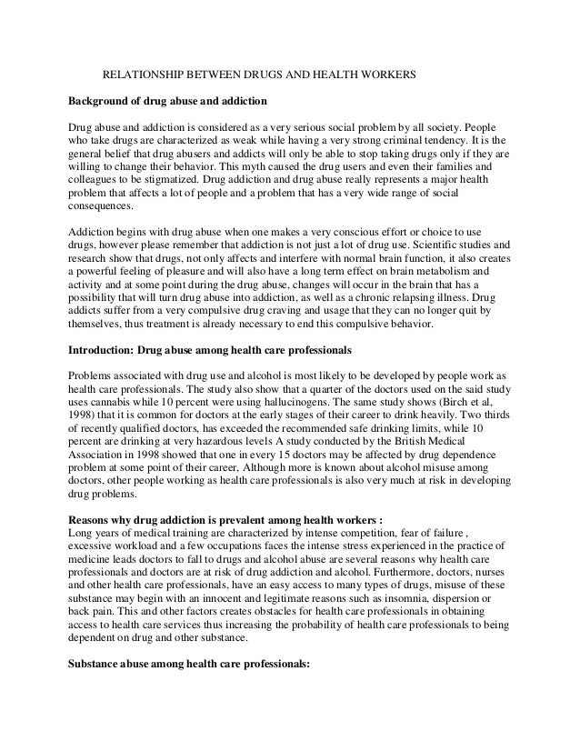 Drug addiction and urban social problem essay