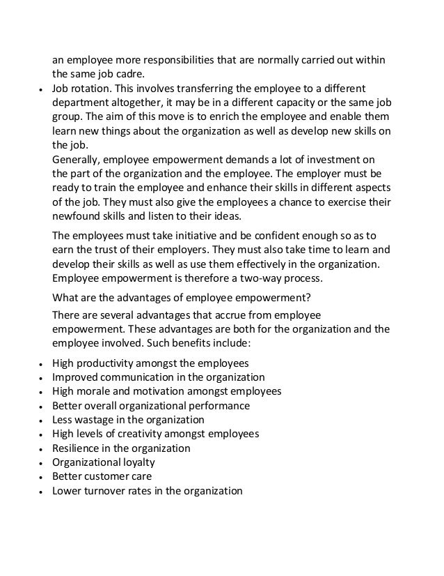 employee empowerment 2 essay Order plagiarism free custom written essay all 2 / 551: employee empowerment empowerment is defined as the freedom and the ability of employees to make decisions.