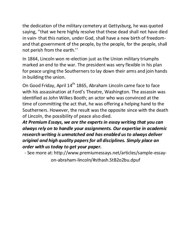 sample essay on abraham lincoln in his speech at 2 the