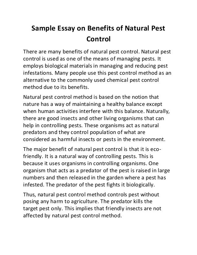 Sample essay on benefits of natural pest control