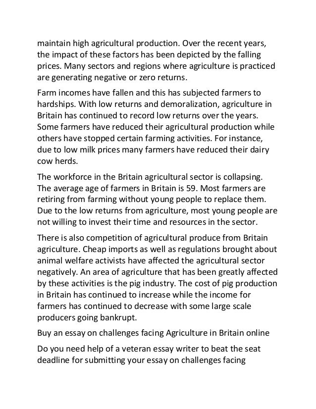 sample essay on challenges facing agriculture in britain