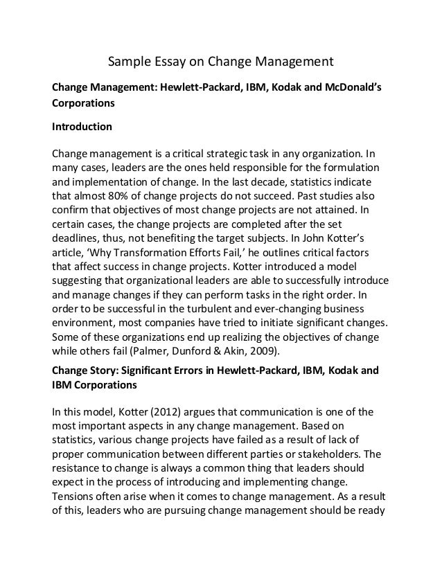sample essay on change management sample essay on change management change management hewlett packard ibm
