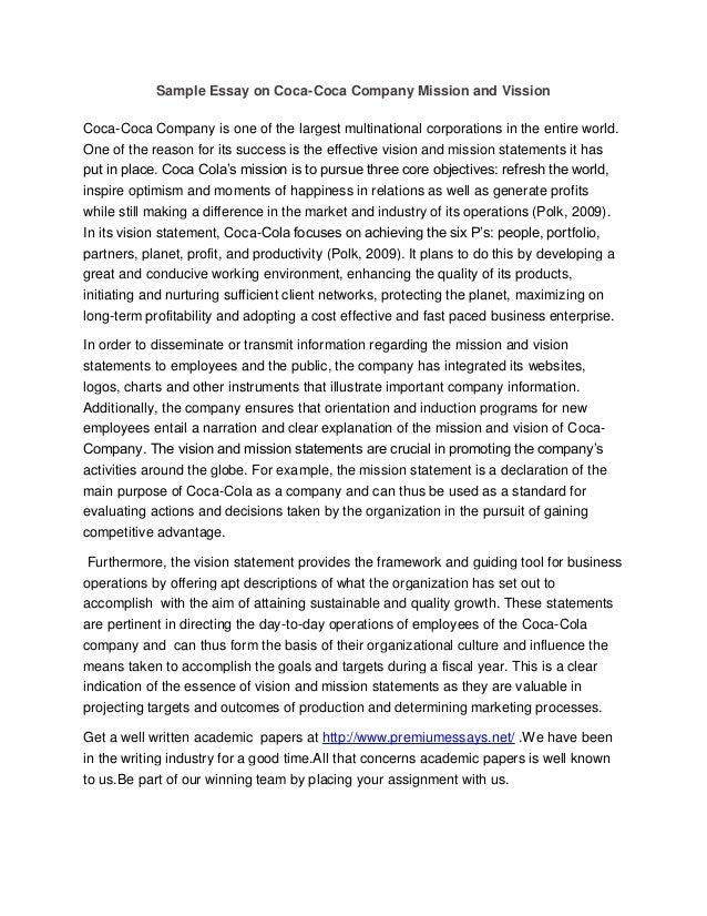 Sample essay on coca coca company mission and vission