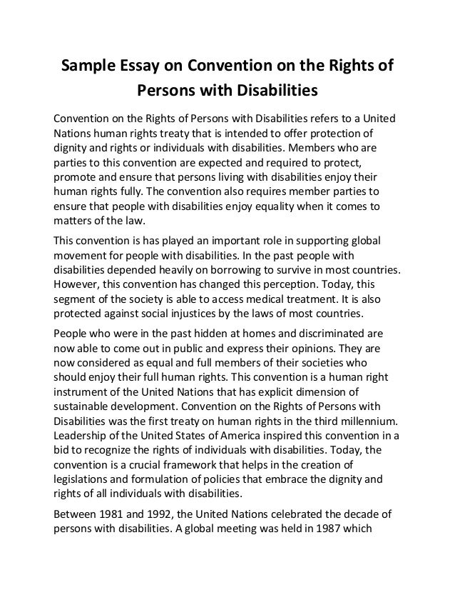 sample essay on convention on the rights of persons disabilities sample essay on convention on the rights of persons disabilities convention on the rights of