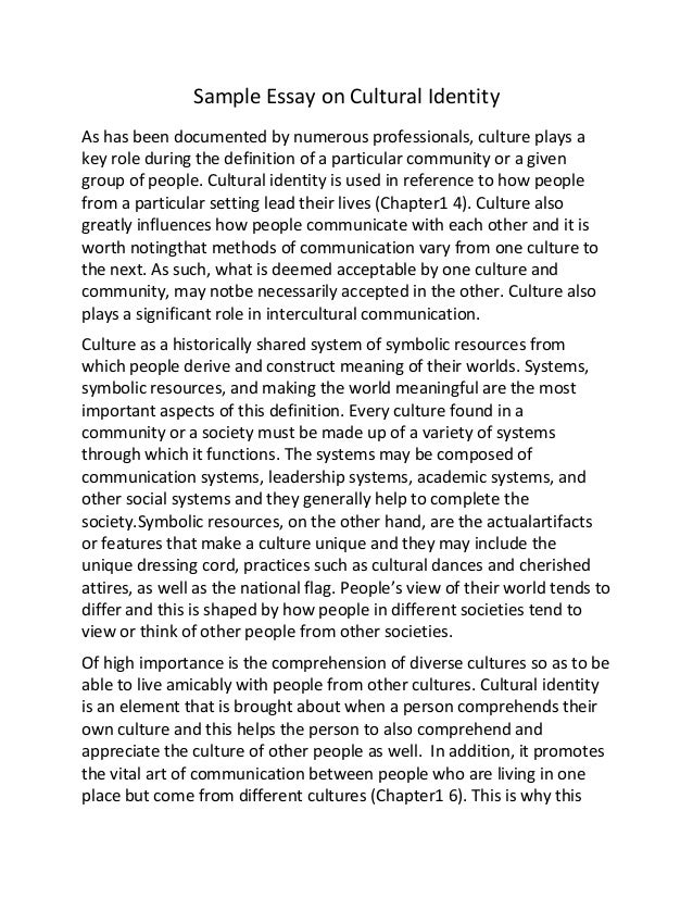 Sample essay on cultural identity
