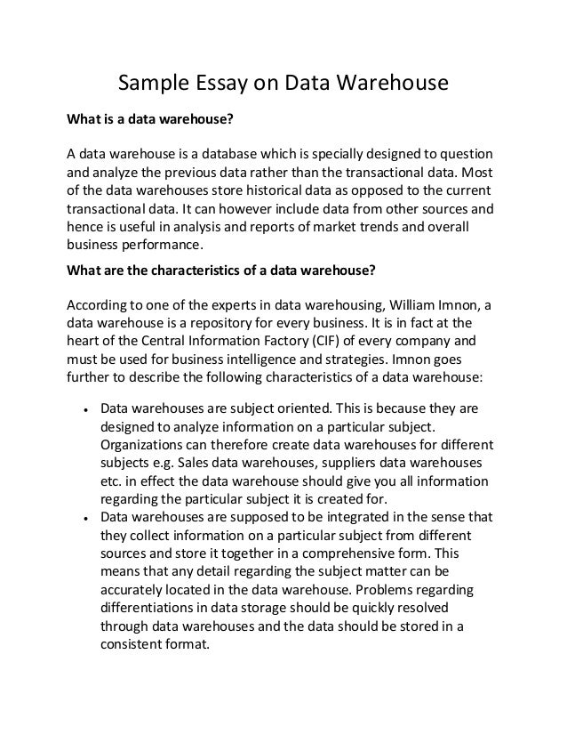 Sample Essay On Data Warehouse Sample Essay On Data Warehouse What Is A Data  Warehouse