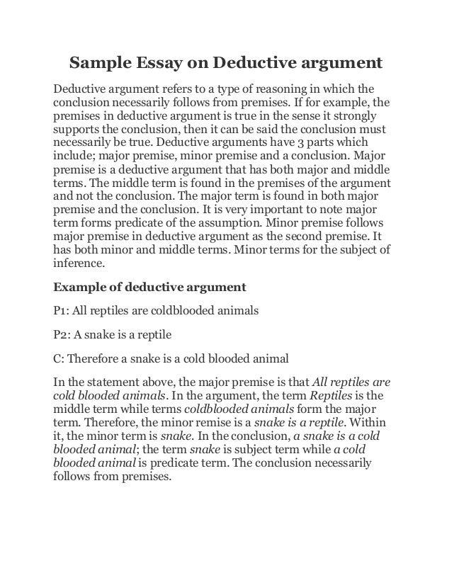 argumentative essay deductive reasoning