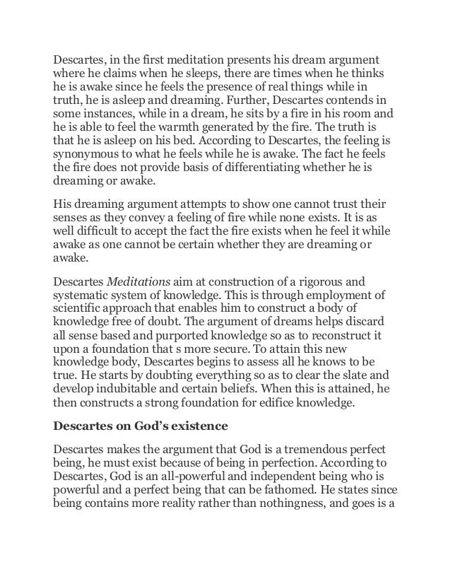 sample essay on deductive argument descartes dream argument 3