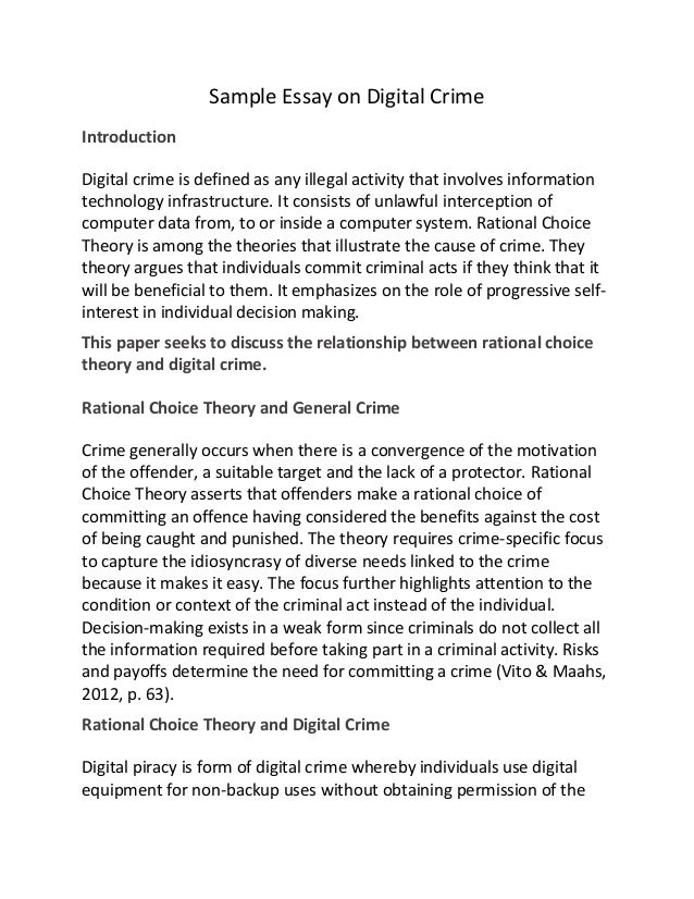 sample essay on digital crime sample essay on digital crime introduction digital crime is defined as any illegal activity that involves