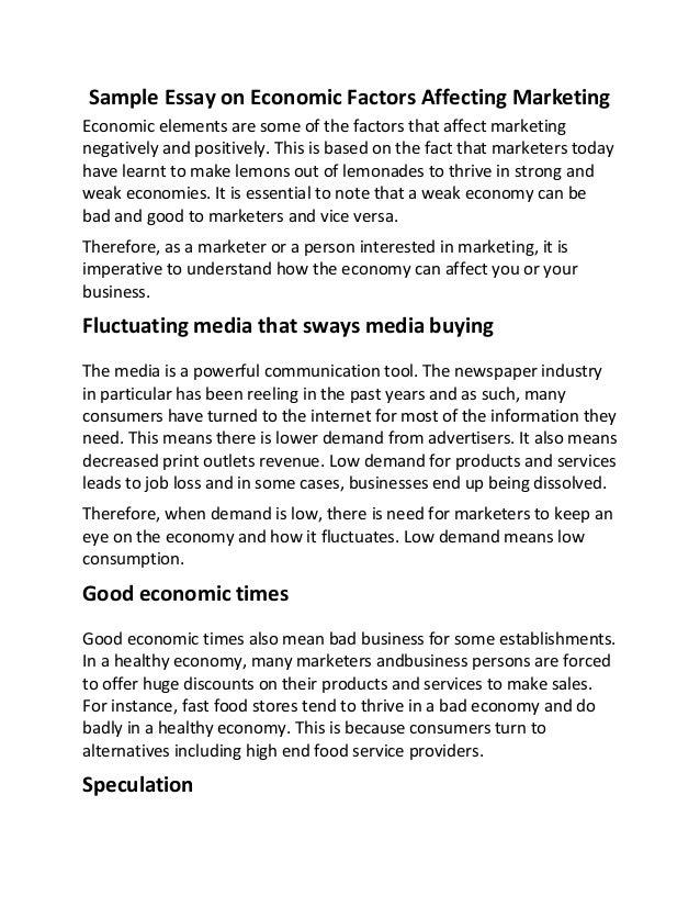 Sample essay on economic factors affecting marketing