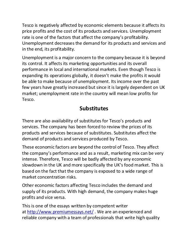 Sample essay on economic factors affecting tesco