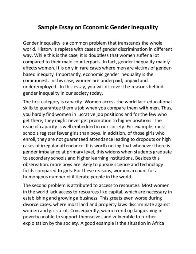 sample essay on economic gender inequality sample essay on economic gender inequality gender inequality is a common problem that transcends the whole