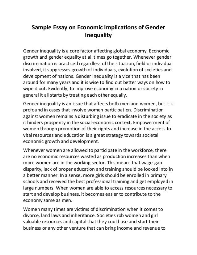 Essay Point Of View Sample Essay On Economic Implications Of Gender Inequality Gender Inequality  Is A Core Factor Affecting Global  Essay On Pollution In English also Failure Is A Better Teacher Than Success Essay Sample Essay On Economic Implications Of Gender Inequality Sample Of Critique Essay