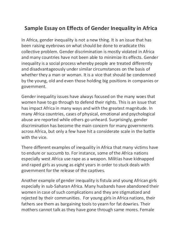 Social Responsibility Essay Sample Essay On Effects Of Gender Inequality In Africa Sample Essay On  Effects Of Gender Inequality Child Soldiers Essay also Their Eyes Were Watching God Essay Topics Gender Essay Conventional Gender Roles In Viginia Woolf S To The  How To Write An Essay About Friendship