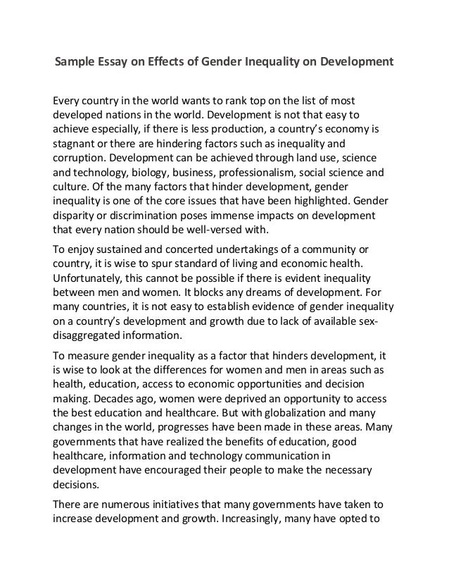 essay on gender inequality okl mindsprout co sample essay on effects of gender inequality on development