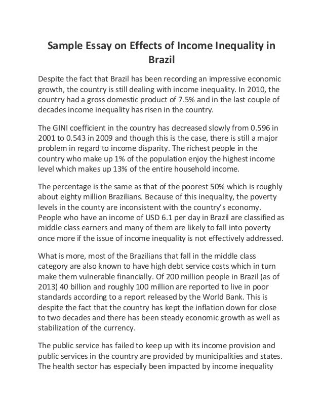 Sample essay on effects of income inequality in brazil