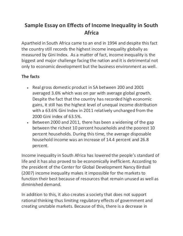 sample essay on effects of income inequality in south africa sample essay on effects of income inequality in south africa apartheid in south africa came to