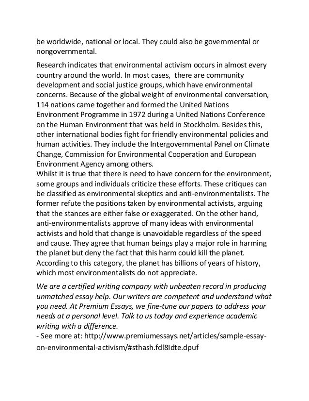 sample essay on environmental activism 2 be