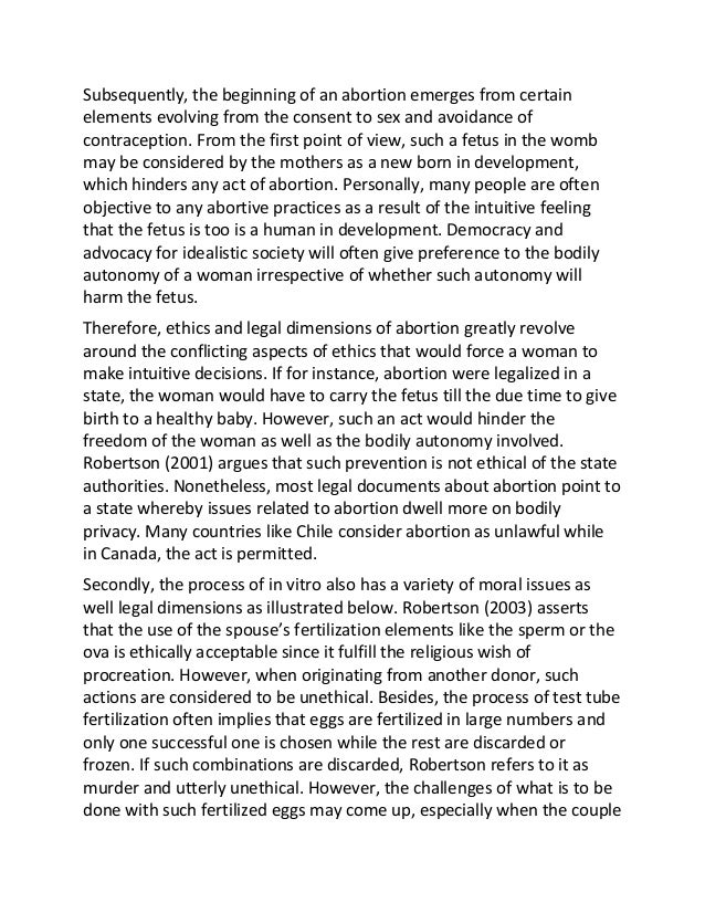 Sample essay on ethical and legal considerations of abortion
