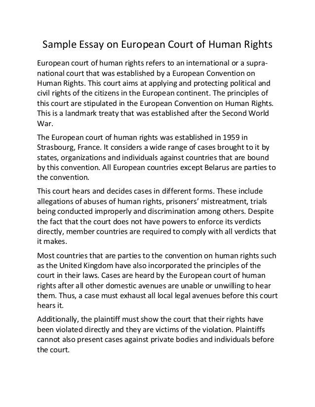 sample essay on european court of human rights sample essay on european court of human rights european court of human rights refers to an