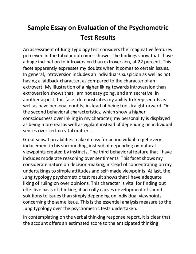 Sample essay on evaluation of the psychometric test results
