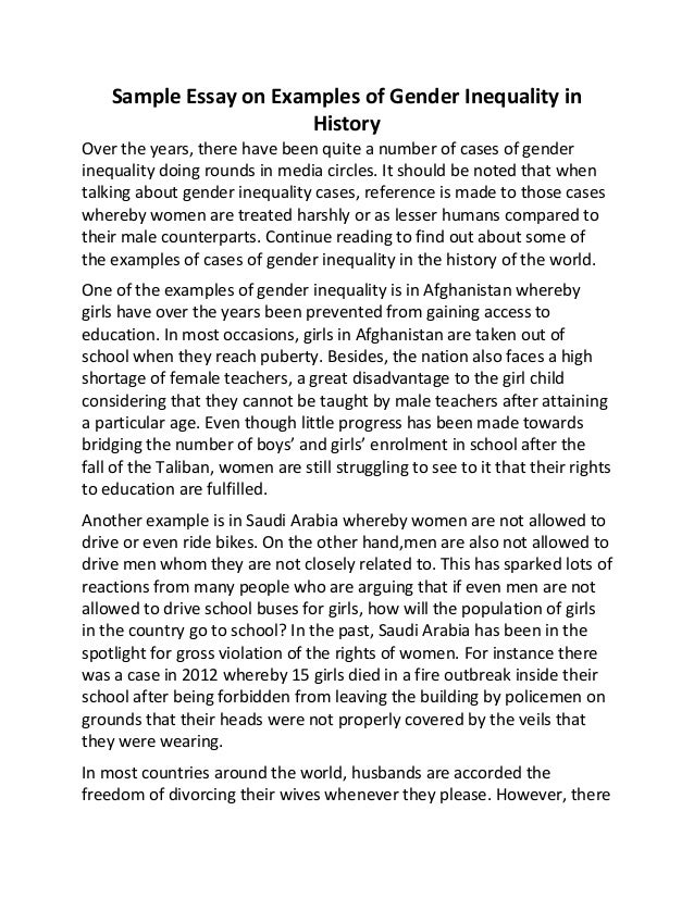 sample essay on examples of gender inequality in history sample essay on examples of gender inequality in history over the years there have been