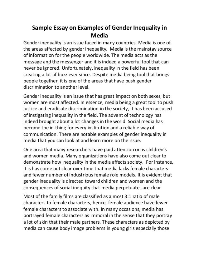 sample essay on examples of gender inequality in media sample essay on examples of gender inequality in media gender inequality is an issue faced in