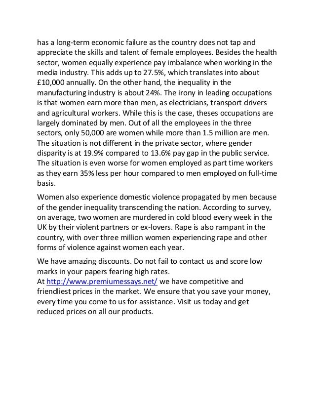 sample essay on examples of gender inequality in the uk this 2 has