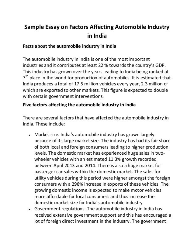 sample essay on factors affecting automobile industry in  sample essay on factors affecting automobile industry in facts about the automobile industry in