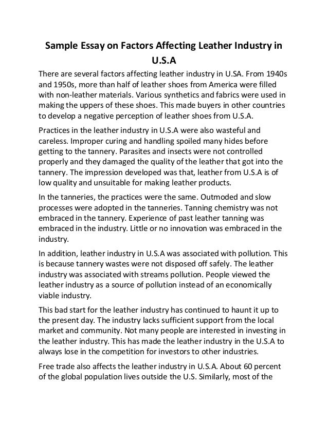 sample essay on factors affecting leather industry in u s a sample essay on factors affecting leather industry in u s a there are several factors affecting leather industry