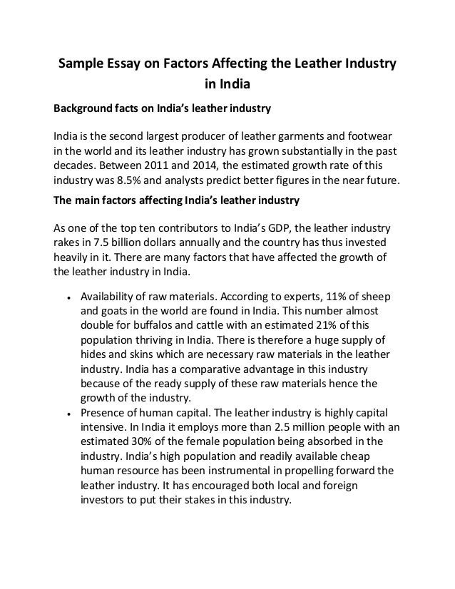 Sample Essay On Factors Affecting The Leather Industry In India Sample Essay On Factors Affecting The Leather Industry In India Background  Facts On Indias Leather Industry