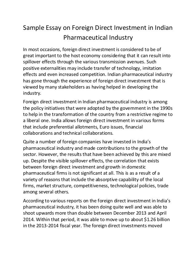 sample essay on foreign direct investment in n pharmaceutical in  sample essay on foreign direct investment in n pharmaceutical industry in most occasions foreign direct