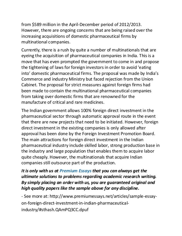 sample essay on foreign direct investment in n pharmaceutical in  the foreign direct investments moved 2