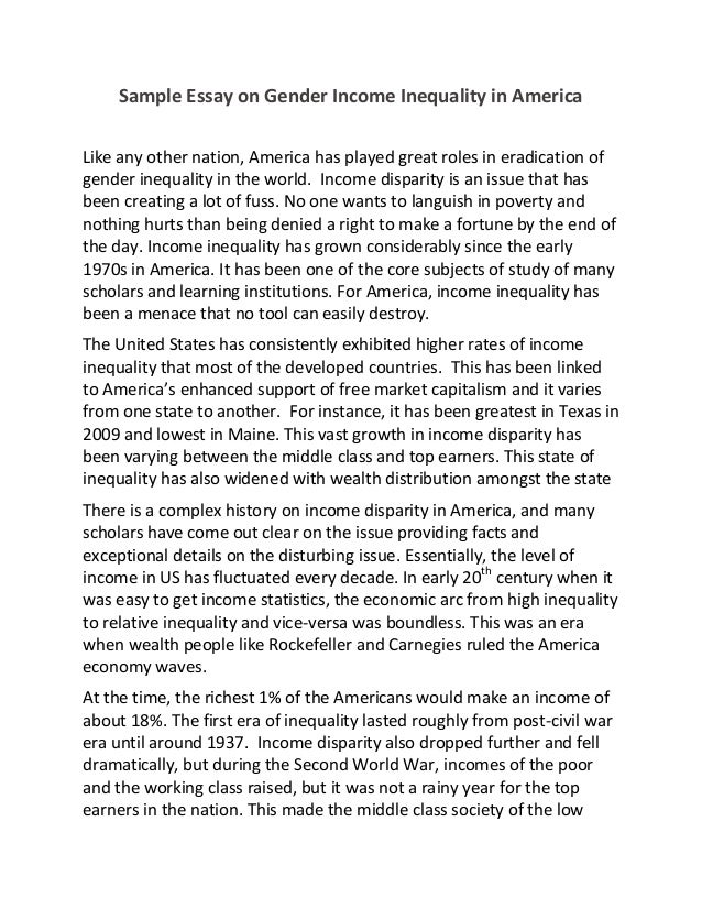 Sample essay on gender income inequality in america