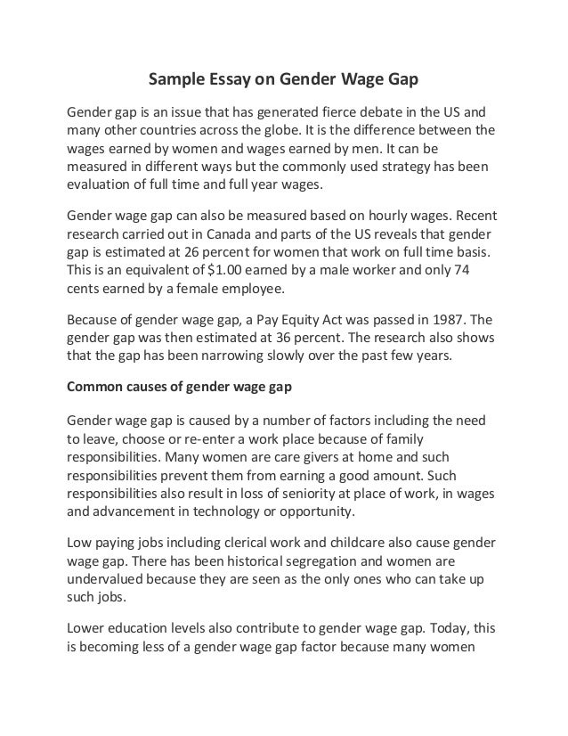 Essay on gender pay gap