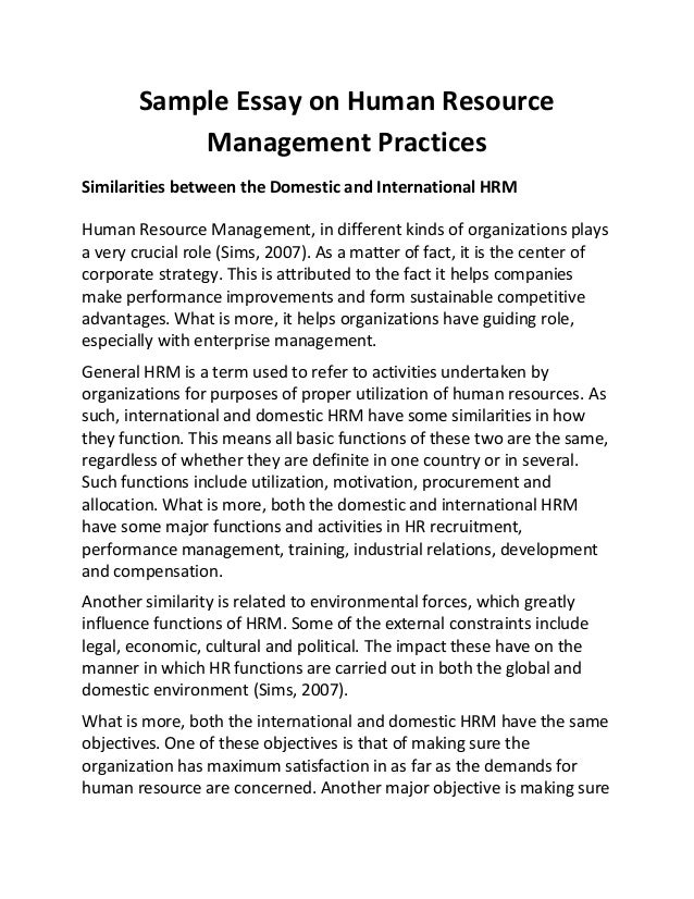 human resource management in hospitals essay Note: the me-p can only speculate how this healthcare workplace  of  management, and the society for human resource management.